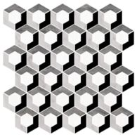 "Ann Sacks Mosaic Enclave 12.125"" x 12.125"" pattern repeat in Thassos Standard, Carrara, Bardiglio, & Nero Marquina"
