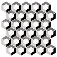 "Ann Sacks Mosaic Enclave 12.125"" x 12.125"" pattern repeat in Thassos Standard, Carrara, Bardiglio, & Nero Marquina"