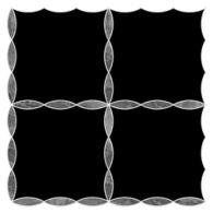 "Ann Sacks Mosaic Simple Leaf Lattice 11.5625"" x 11.5625"" pattern repeat in Nero Marquina & Bardiglio"