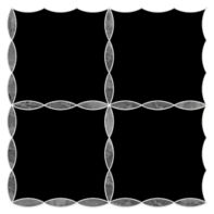 "Ann Sacks Mosaic Simple Leaf Lattice 11.5625"" x 11.5625"" pattern repeat in Nero Marquina & Bardiglio"