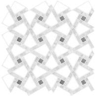 "Ann Sacks Mosaic Reye 11.625"" x 11.625"" pattern repeat in Thassos Standard, Carrara, & Bardiglio"