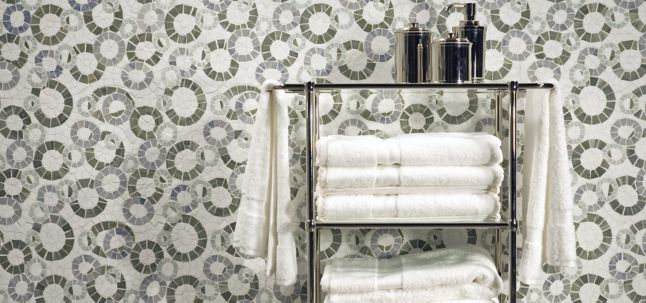 ring toss mosaic with thassos standard, ming green, blue macauba, and verde luna in polished finish