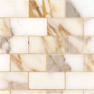 """1"""" x 2-3/8"""" brick offset mosaic with calacatta in polished finish"""