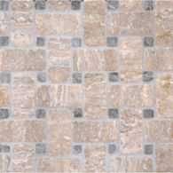 basketweave #1 mosaic in noce travertine with mystique dot in tumbled finish