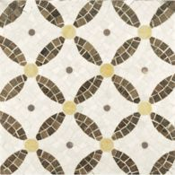 cartman mosaic with lagos azul in honed finish and travertine navona and jerusalem gold in polished finish