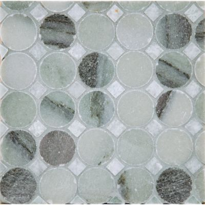 circle square #1 mosaic in chippolino with ming green dot in polished finish