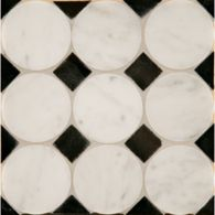 circle square #3 mosaic in carrara with nero pure black dot in polished finish