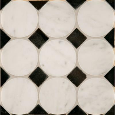 Circle Square 3 Mosaic In Carrara With Nero Pure Black Dot Polished Finish