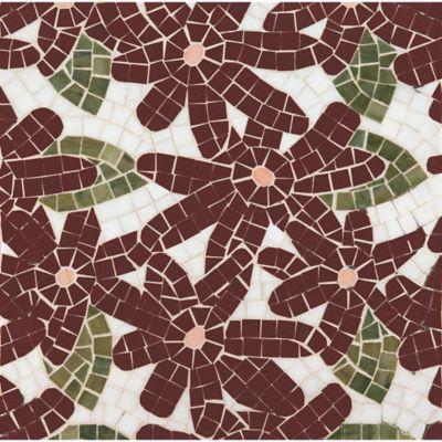 flower power mosaic with thassos standard, red lake, verde luna, and rosa salmon in polished finish