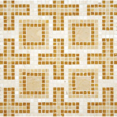 geneva mosaic with jerusalem gold, pompeii gold, and travertine navona in polished finish