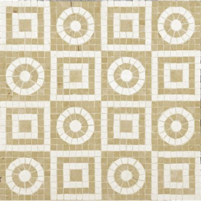 geometric mosaic with jerusalem gold and ivory cream in polished finish