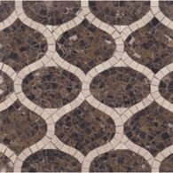 gershwin mosaic with emperador dark and travertine navona in polished finish