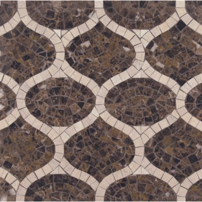 gershwin mosaic with emperador dark and travertine navona in polished finish