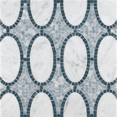 opera mosaic with carrara and blue pearl in polished finish and bardiglio in tumbled finish