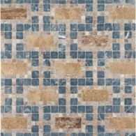 pendleton mosaic with noce travertine in polished finish and noce travertine and mystique in tumbled finish