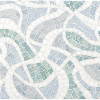 tempest mosaic with carrara, ming green, celeste blue, and thassos standard in polished finish
