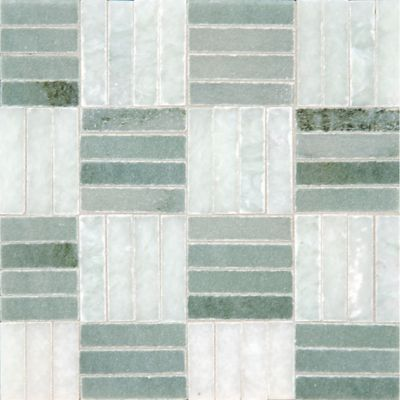 twill weave mosaic with ming green and chippolino in polished finish