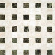 waffles mosaic in botticino with empress green dot in polished finish