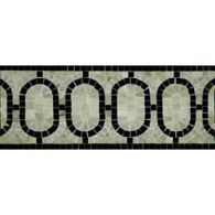 "5-1/2"" x 12"" oval link border mosaic with verde luna and nero pure black in polished finish"