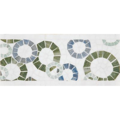 "6"" x 12"" ring toss border mosaic with thassos standard, ming green, blue macauba, and verde luna in polished finish"