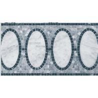 """8"""" x 12"""" opera border mosaic with carrara and blue pearl in polished finish and bardiglio in tumbled finish"""