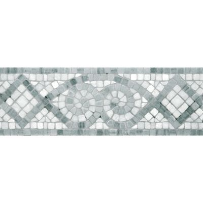 "4"" x 12"" abbey border mosaic with ming green and chippolino in tumbled finish"