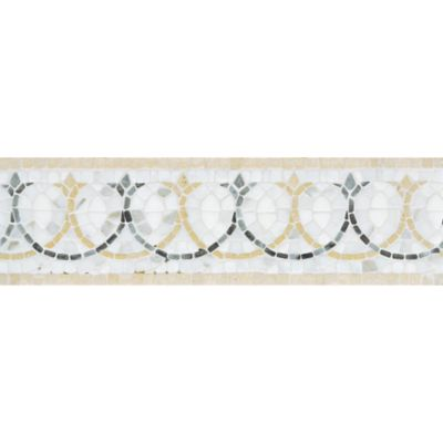 "4"" x 12"" bishop border mosaic with calacatta, carrara, jerusalem gold, and provenza in tumbled finish"