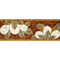 "5"" x 12"" blossom border mosaic with aegean brown, travertine navona, verde luna, and pompeii gold in polished finish"