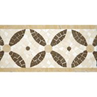 """6-3/4"""" x 12"""" cartman border mosaic with lagos azul in honed finish and travertine navona and jerusalem gold in polished finish"""