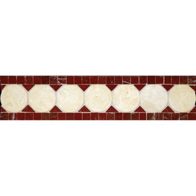 "3-1/8"" x 12"" circle square border mosaic with red lake and jerusalem gold in polished finish"