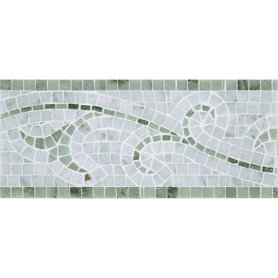 "6"" x 12"" classic vine border mosaic with carrara and chippolino in polished finish"