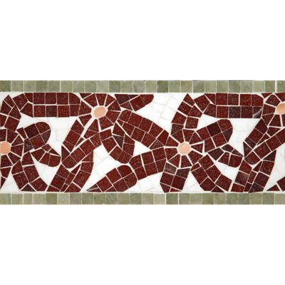 "6"" x 12"" flower power border mosaic with thassos standard, red lake, verde luna, and rosa salmon in polished finish"