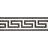 """4"""" x 12"""" greek key border mosaic with thassos standard and nero pure black in polished finish"""