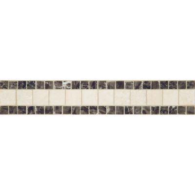 "2-3/8"" x 12"" linea border mosaic with travertine navona and mystique in polished finish"