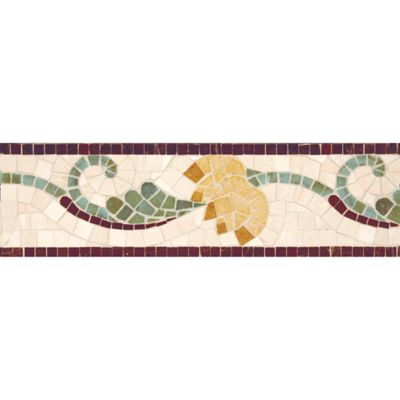 "4"" x 12"" lotus border mosaic with red lake, travertine navona, verde luna, jerusalem gold, and giallo reale in polished finish"