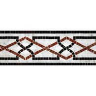 """5"""" x 12"""" ming border mosaic with carrara, red lake, and nero pure black in polished finish"""