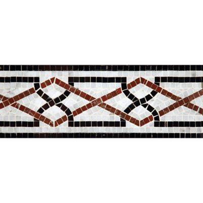 "5"" x 12"" ming border mosaic with carrara, red lake, and nero pure black in polished finish"
