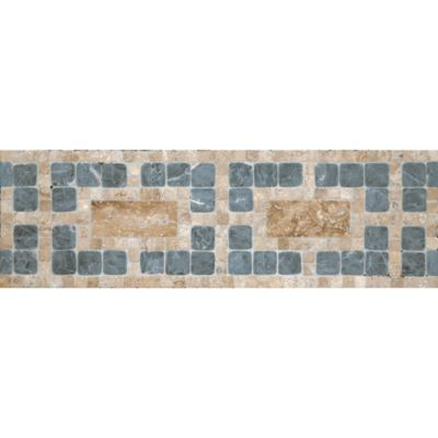 "4-3/8"" x 12"" pendleton border mosaic with noce travertine in polished finish and noce travertine and mystique in tumbled finish"