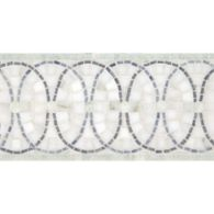 """6"""" x 12"""" pinwheel border mosaic with calacatta gold, ming green, bardiglio, and verde luna in polished finish"""