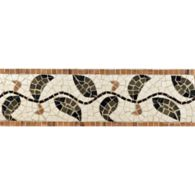 """4"""" x 12"""" topiary border mosaic with ivory cream, mystique, verde luna, moss green, and georgia peach in polished finish"""