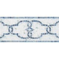 """6"""" x 12"""" windsor grande border mosaic with calacatta in tumbled finish and blue macauba in polished finish"""