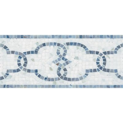 "6"" x 12"" windsor grande border mosaic with calacatta in tumbled finish and blue macauba in polished finish"