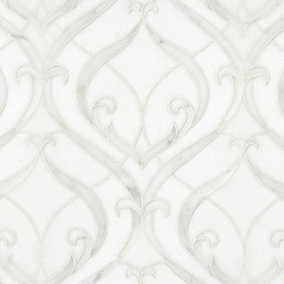 Alicia mosaic in Thassos polishied, Paperwhite honed, and Carrara honed.