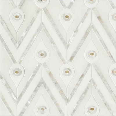 Bela mosaic in Thassos polished, Calacatta Radiance polished, Shell, and Honey Onyx Polished