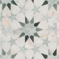 Brie mosaic in Cloud Nine polished, Ming Green polished, Kay's Green polished.