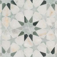Brie mosaic in Cloud Nine polished, Ming Green polished, Kay's Green polished.
