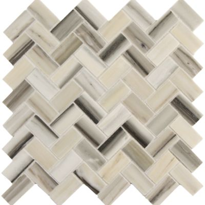 "11.063"" x 11.299""  Large Herringbone sheet in honed finish"