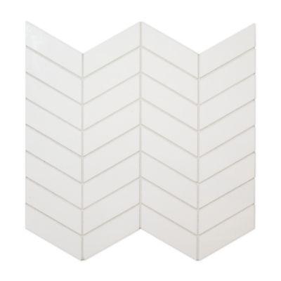 kanso chevron mosaic in winter white gloss
