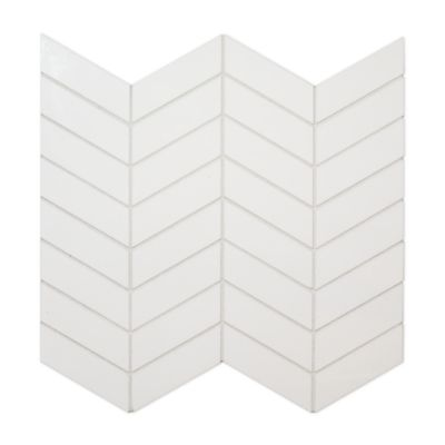 kanso chevron mosaic in winter white gloss