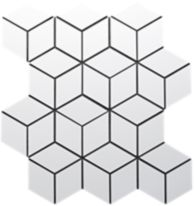 kanso diamond cube mosaic in winter white matte